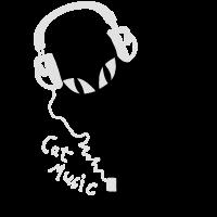 Cat Katzen Musik Headphones Kopfhörer Musik