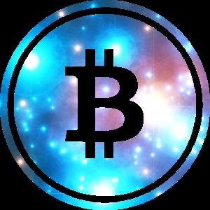 Vintage Bitcoin Symbol Space Galaxy Crypto