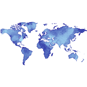 Map of the World - Watercolor Look - Blue