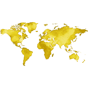 Map of the World - Watercolor Look - Yellow