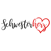 Schwesterherz mit Herz in rot schwarz