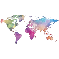 Map of the World - Watercolor Look - Dark Shirts