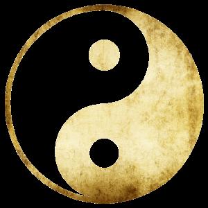 yoga yin yang gold