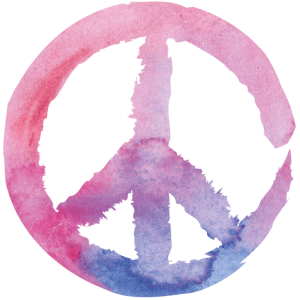 Peace Zeichen - Aquarell Pink Blau Yoga 70er