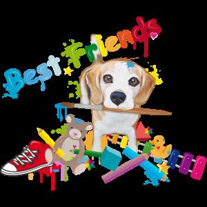 Beagle mit Pinsel -Beste Freunde-