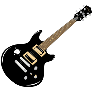 Coole Egitarre mit Totenkopf als Illustration
