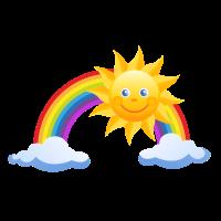 Regenbogen mit Wolken und Sonne