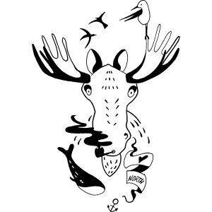 Seemann Elch Skandinavien Illustration Geschenk