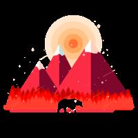 Bär im Wald vor Bergen im Schnee Sonnenuntergang