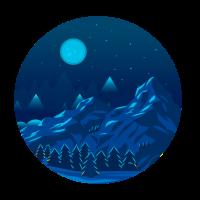 Berge bei Nacht mit Wald