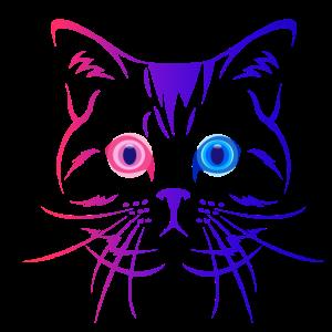 Katze Blau Rot
