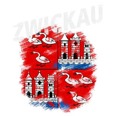 Zwickau - Wappen der Stadt Zwickau mit weißem Titel - Zwickau,Wappen,Sachsen
