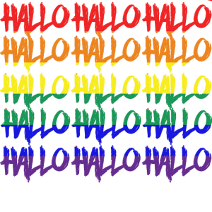 LGBTQ Schwulenfahne Hallo