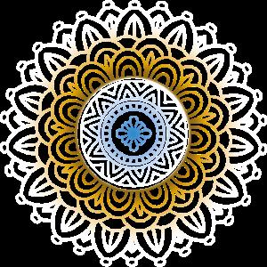 Mandala Weiß Gold Blau