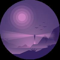 Leuchtturm bei Nacht Lila Licht