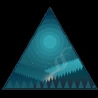 Dreieck Nacht Lagerfeuer bei Vollmond im Wald