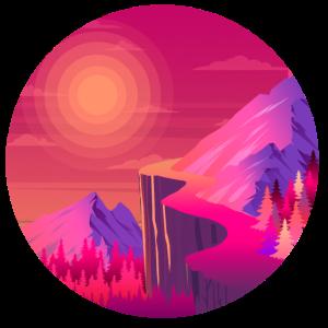 Pfad in den Bergen Sonnenuntergang