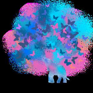 Elefant mit Schmetterlingen Bunt