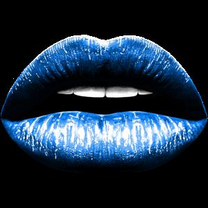 Lippen blau Lippenstift Kuss Mund Illustration