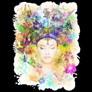 Natur Spirituell Farbenfroh Yoga Shirt für Frauen