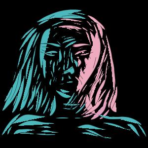 weibliches Gesicht im Wind