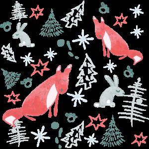 Nette Waldaquarelltiere und -bäume, Fuchs