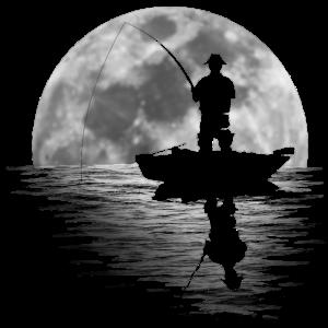 Angler angeln Mond See Boot cool fischen Geschenk