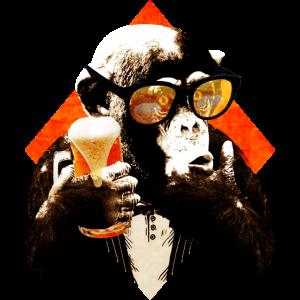 lustiger Bier Schimpanse