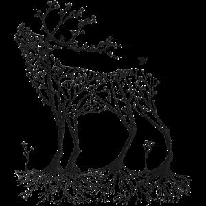 Wald-Hirsch in schwarz