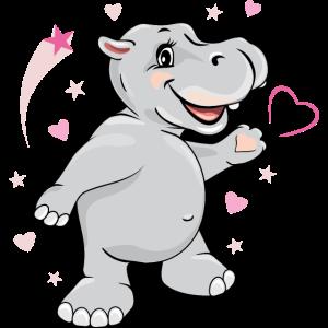 Glückliches verliebtes Nilpferd