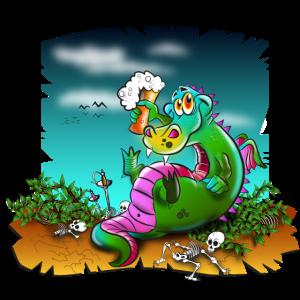Drache macht Feierabend, lustiger Dinosaurier