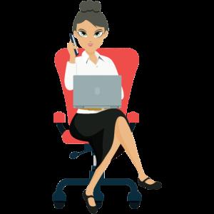 Frau auf Schreibtischstuhl