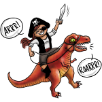 Piratin reitet T-Rex