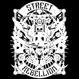 Motorrad Shirt - Street Rebellion (weiß)