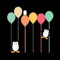 Pinguine und Ballons