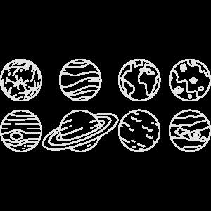 Sonnensystem - Planeten stillisiert