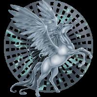 """Pegasus mit """"Wheel"""" Hintergrund"""