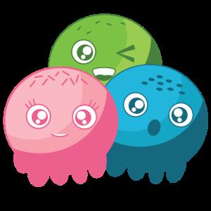 Kleine bunte Monster Bubbles Gesichter