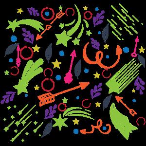 Viele Bunte Sterne mit Schweif und Pünktchen