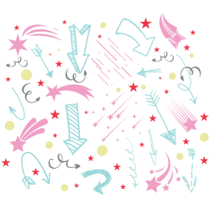 Viele Bunte Pfeile Mit Streifen und Sternchen