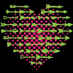 Viele Bunte Pfeile Mit Streifen und Sternchen Herz