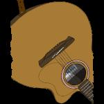 Gitarre auf dem Rücken Braun