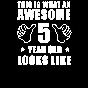 Fünfter Geburtstag 5. Jahre alt Junge Mädchen Kind