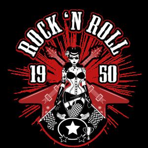 Rock 'n Roll 1950 Frau Gitarre Geschenk Musik
