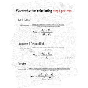 Formulas for calculating steps-per-mm.