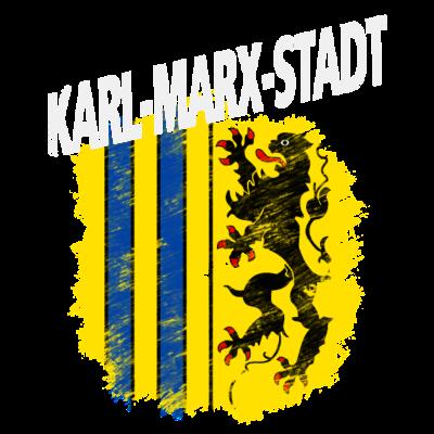 Karl-Marx-Stadt - Wappen der Stadt Chemnitz mit weißem Titel Karl-Marx Stadt - Wappen,Sachsen,Karl-Marx-Stadt,Chemnitz