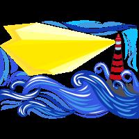 stürmisches Meer mit Leuchtturm