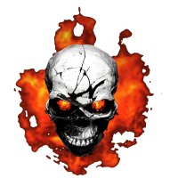 Totenkopf mit Feuer