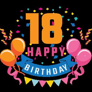 18. Geburtstag 18 Jahre Happy Birthday Geschenk