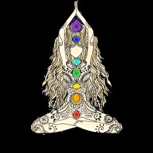 yoga frau yogi indien zeichnung chakra energie zen